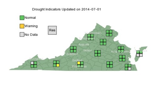 Drought VA map 7-1-14