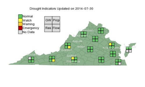 Drought VA map Jul 30