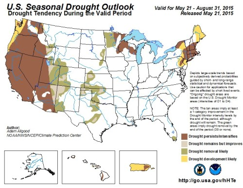 Drought outlook US 90 days as of May 21