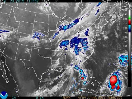 Infrared satellite photo east coast Sep29 2015