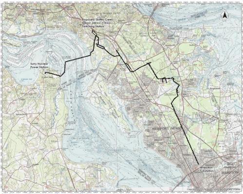 Skilles Creek Transmission Project map