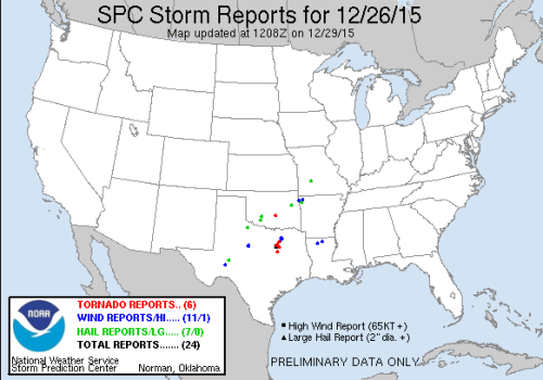 Severe weather reports Dec26 2015