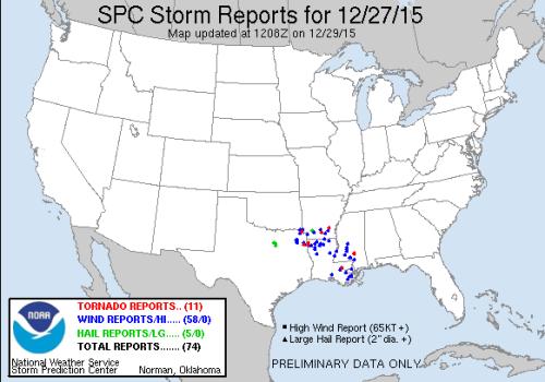 Severe weather reports Dec27 2015