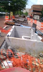 Stormwater Rain Garden planters UNDER CONSTRUCTION College Ave Blacksburg Jun13 2013