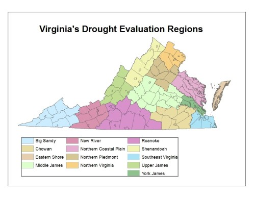 VA Drought Evaluation Regions map