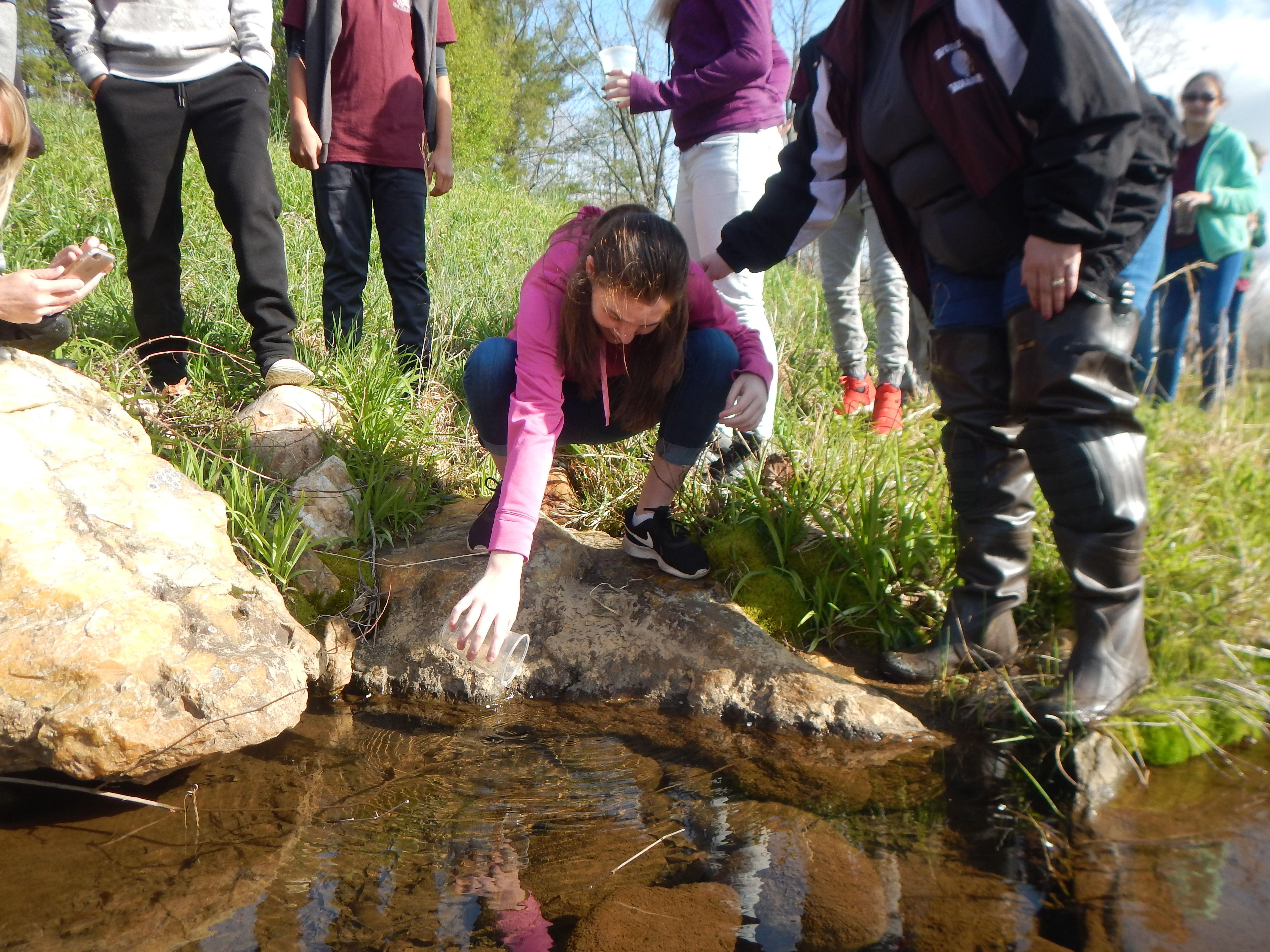 439 Image 1 Trout Release ONE Woolwine Elem Apr10 2018 Smith River photo by Krista Hodges RCVD 9-22-18
