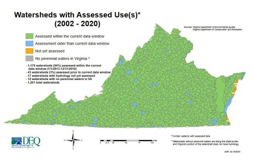 Map watersheds with assessed uses from DEQ 2020 report